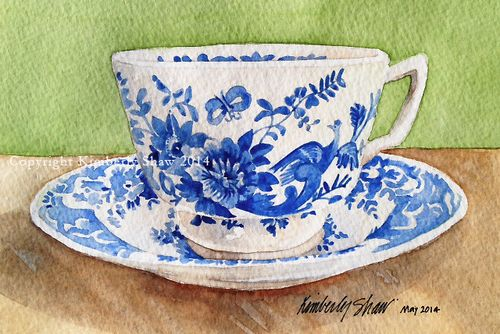 Blue and white teacup copy