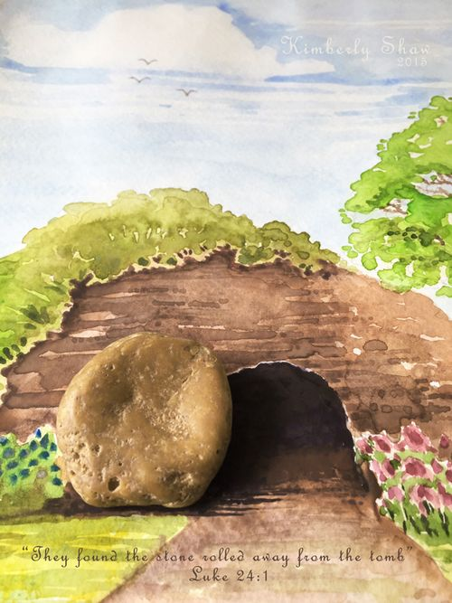 Stone on Tomb Watercolor