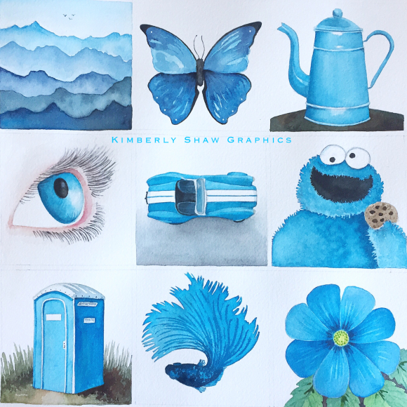 Nine Images in Cerulean Blue